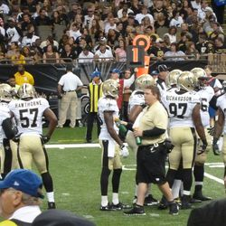 First string defense gets ready to start the game.