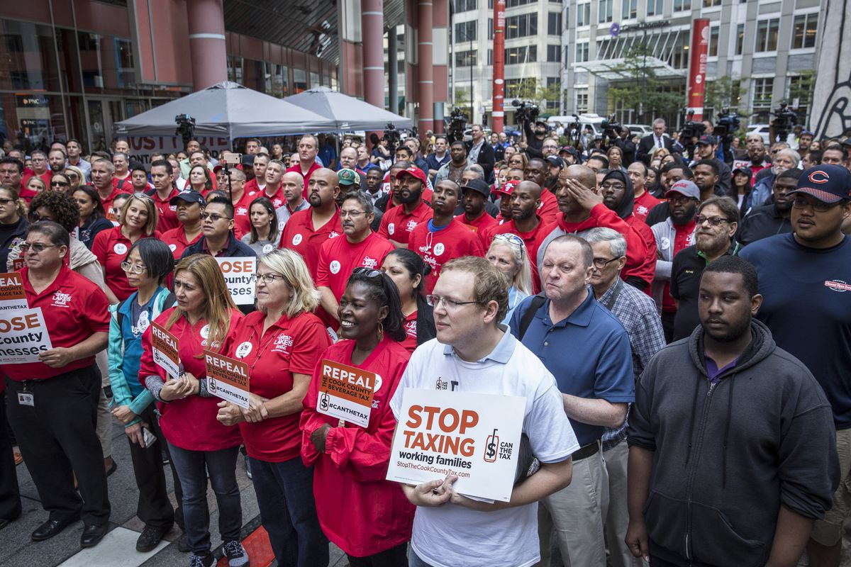 Opponents to the soda tax held a rally outside the Thompson Center Tuesday morning. | Rich Hein/Sun-Times