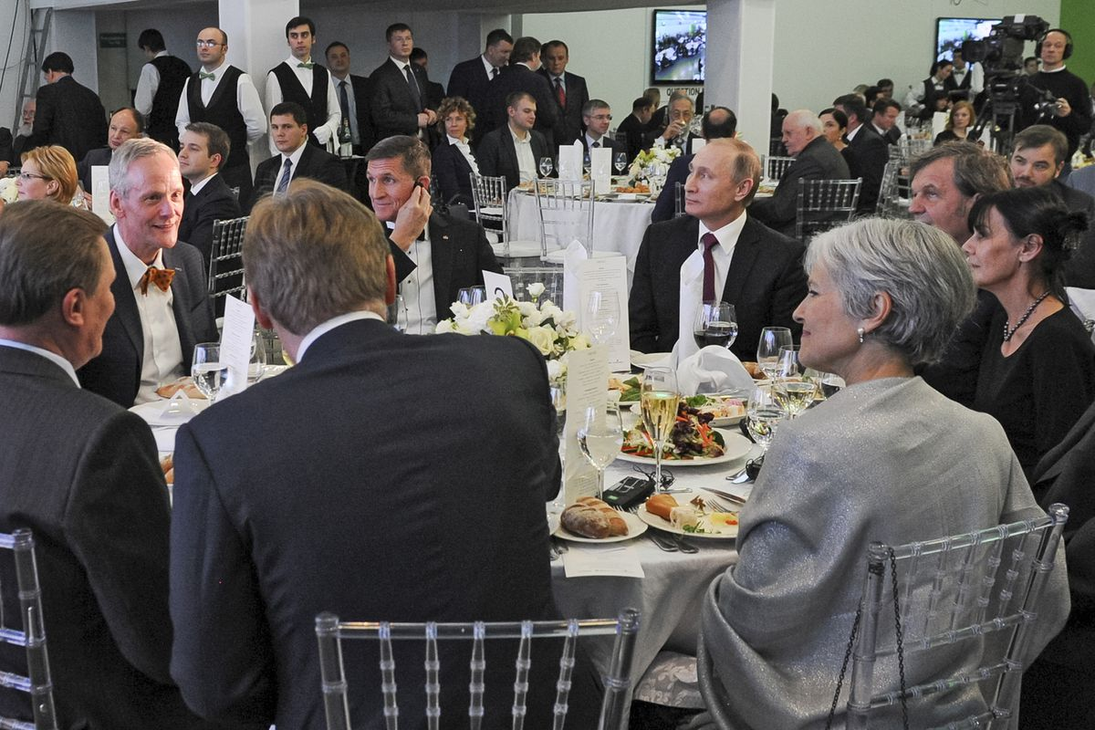 Michael Flynn dines with Vladimir Putin and Jill Stein on Dec. 10, 2015.