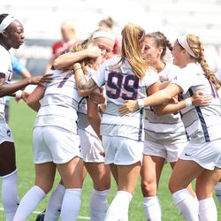 The Boston University Terriers take on the UConn Huskies in a women's college soccer game at Dillon Stadium in Hartford, CT on September 8, 2019.