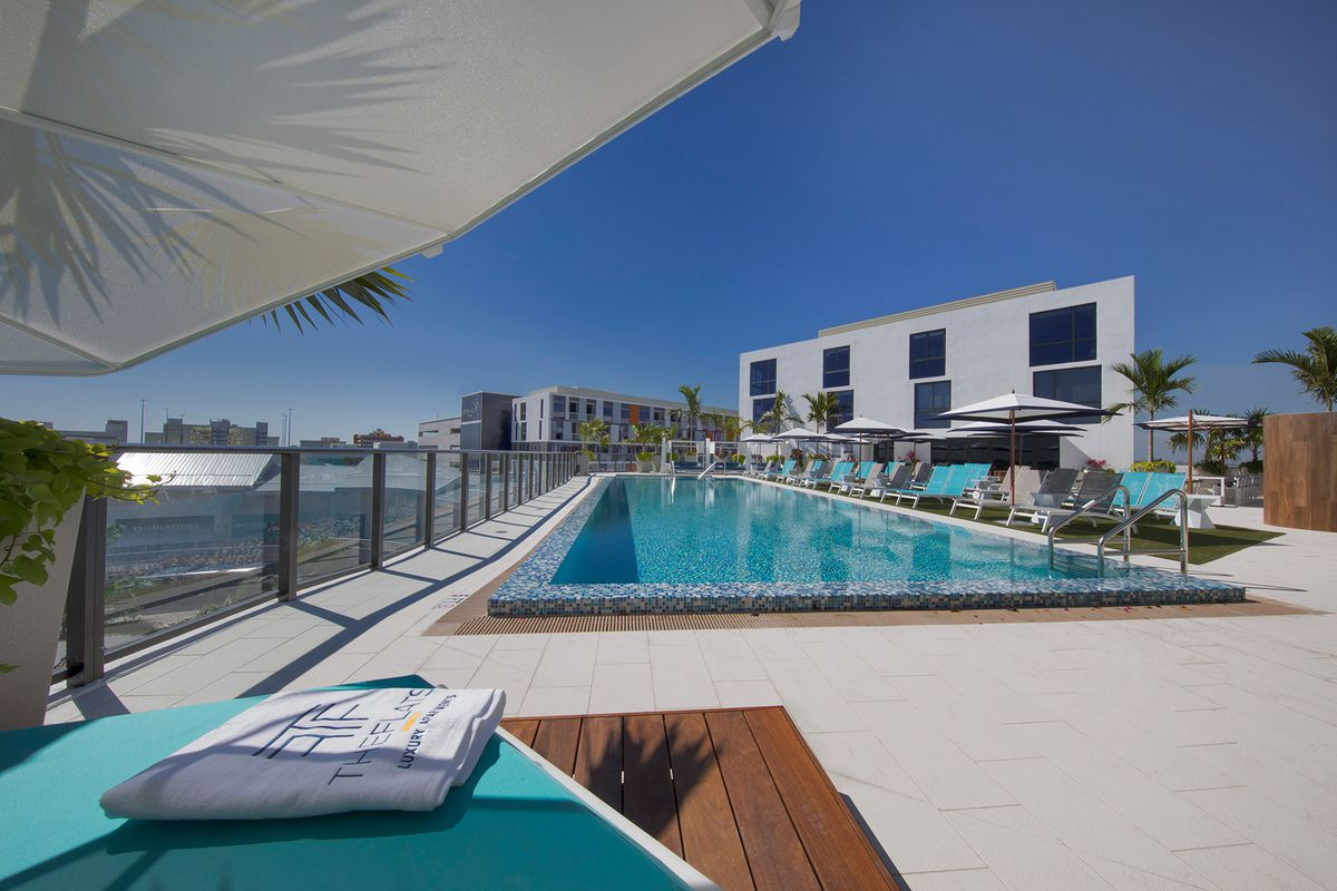 The pool atop The Flats at CityPlace Doral