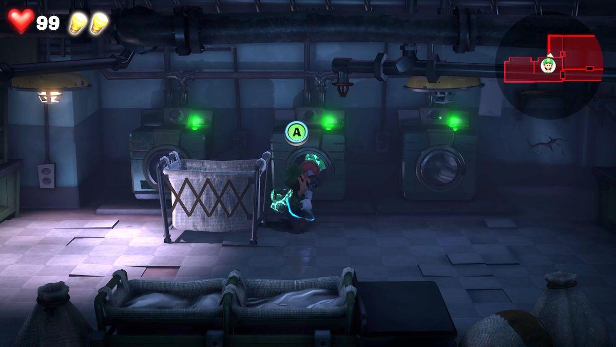 Luigi s Mansion 3 B1 Laundry room green gem - Luigi's Mansion 3 - Guida: come trovare tutte le gemme dei piani B2 e B1