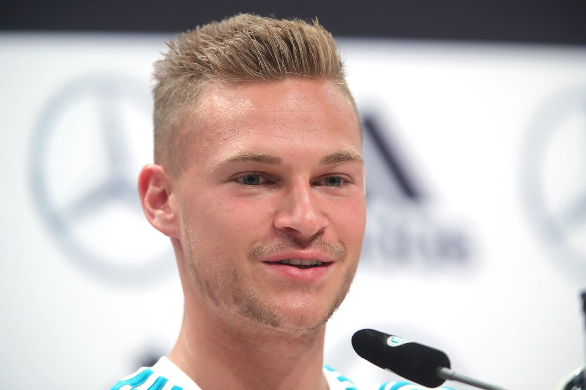 Germany Training And Press Conference MOSCOW, RUSSIA - JUNE 15: Joshua Kimmich speaks to the media during the Germany Training And Press Conference at Sport Base Vatutinki on June 15, 2018 in Moscow, Russia.