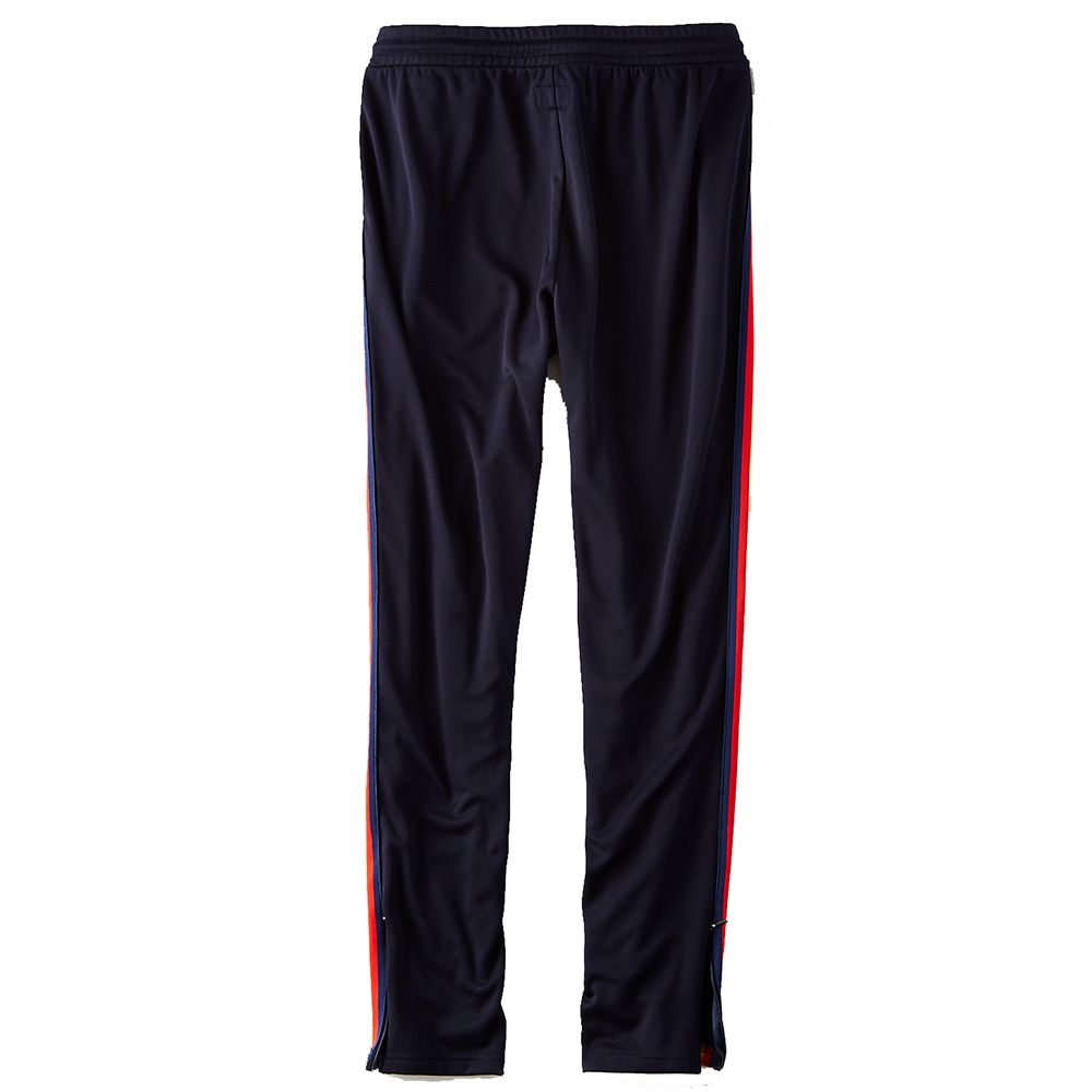 american eagle navy track pants with red stripe