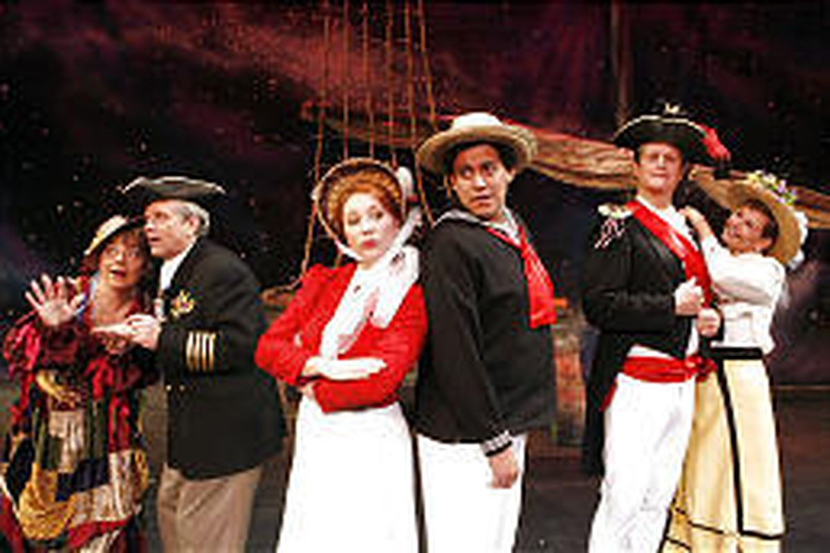 """Robinne Booth as Buttercup, left, Lyle Mortimer as Captain Corcoran, Lauralyn Curtis as Josephine, Juan Pereia as Ralph, Neil Whitaker as Sir Joseph and Nannette Wiggins as Hebe in """"HMS Pinafore."""""""