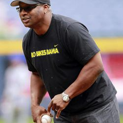 Former baseball and fooball player Bo Jackson prepares to throw out the ceremonial first pitch before a Major League Baseball game between New York Mets and Atlanta Braves in Atlanta Wednesday, April 18, 2012.