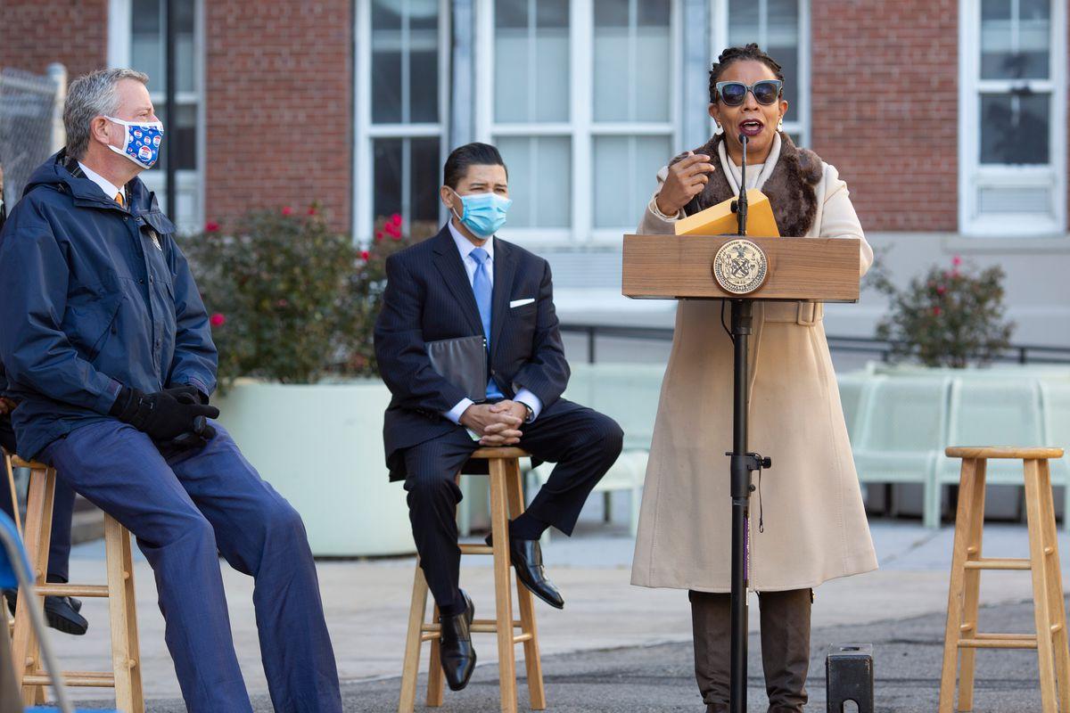 Councilmember Laurie Cumbo speaks at Medgar Evers Prep in Crown Heights, Nov. 24, 2020.
