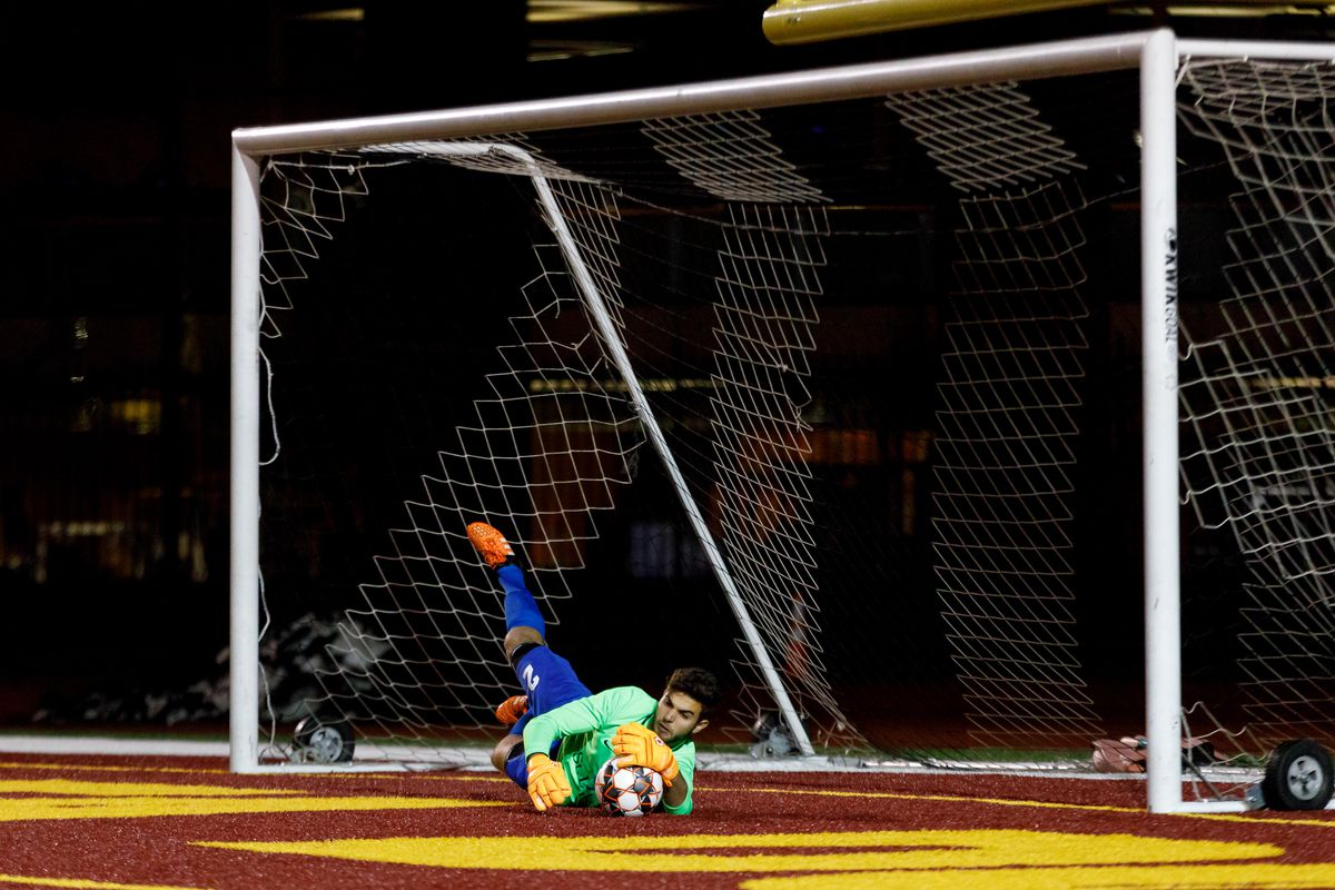 May 9, 2018 - Duluth, Minnesota, United States - Duluth FC Goalkeeper, Alberto Ciroi (2) catches the ball during the penalty shootout between Duluth FC and Dakota Fusion FC at James S. Malosky Stadium.   (Photo by Seth Steffenhagen/Steffenhagen Photography)