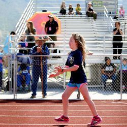 Maisy, of Jimmy's Jaguars, runs the 50-meter dash at the Special Olympics Utah's 48th annual Summer Games at Provo High School on Friday, June 2, 2017. Nearly 1,300 athletes will compete during the two-day event with support from nearly 500 coaches and hundreds of volunteers.