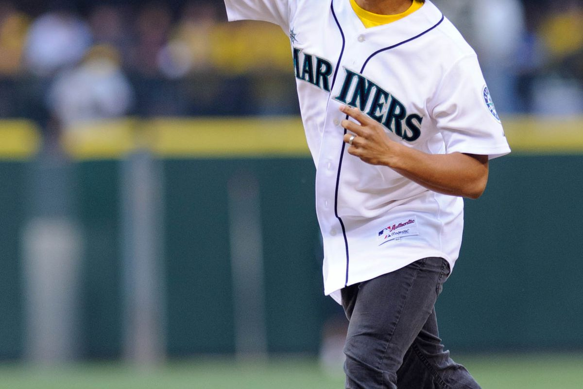 Aug 21, 2012; Seattle, WA, USA; Seattle Sounders FC forward Fred Montero throws out the first pitch prior to the game between the Seattle Mariners and the Cleveland Indians at Safeco Field. Mandatory Credit: Steven Bisig-US PRESSWIRE