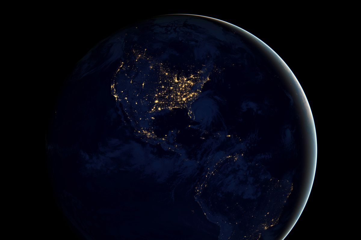 A view of Earth's city lights as a composite assembled from data acquired by the Suomi National Polar-orbiting Partnership (NPP) satellite.