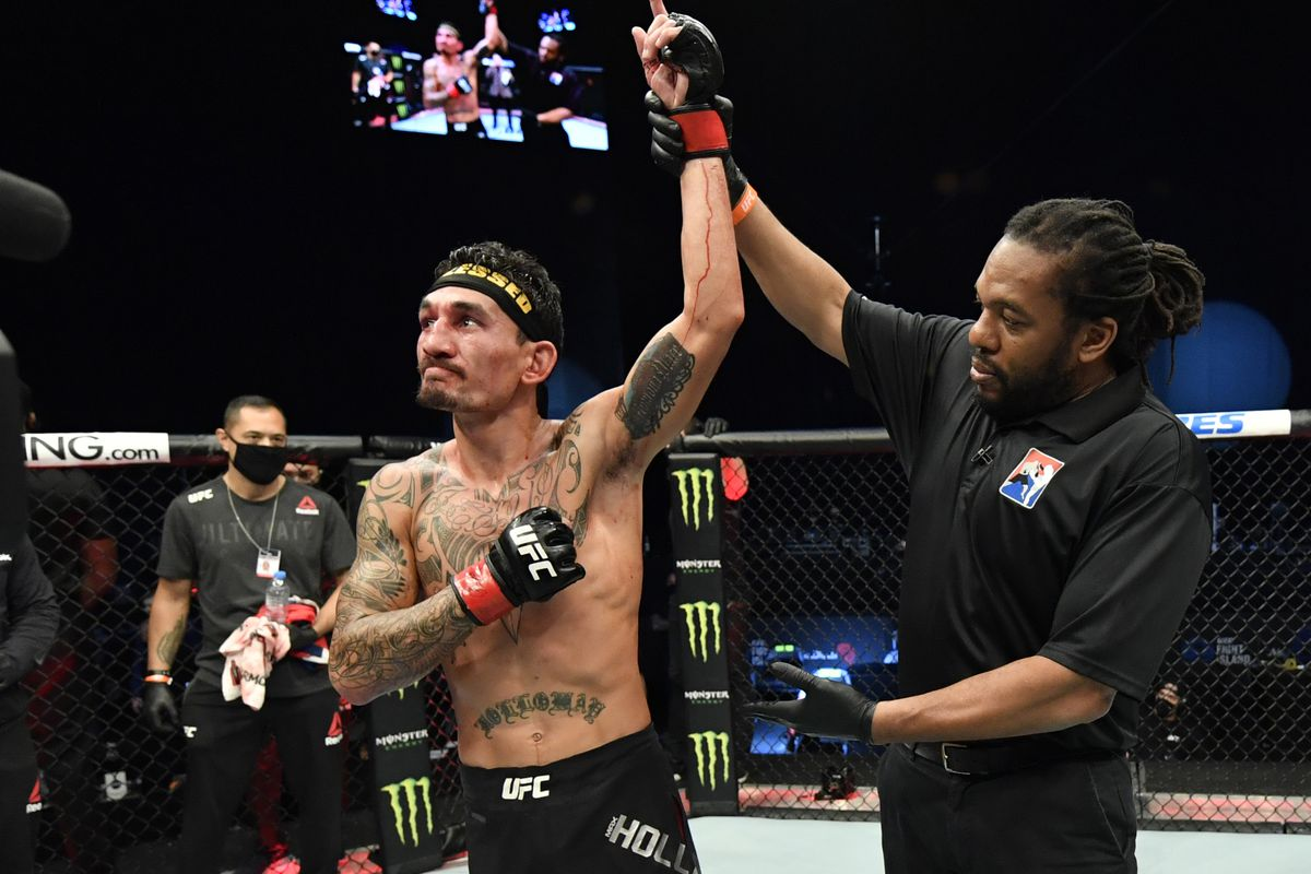 Max Holloway after defeating Calvin Kattar at a UFC Fight Island event in January