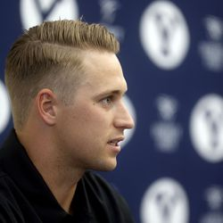 BYU quarterback Baylor Romney answers interview questions during BYU football media day at the BYU Broadcasting Building in Provo on Thursday, June 17, 2021.