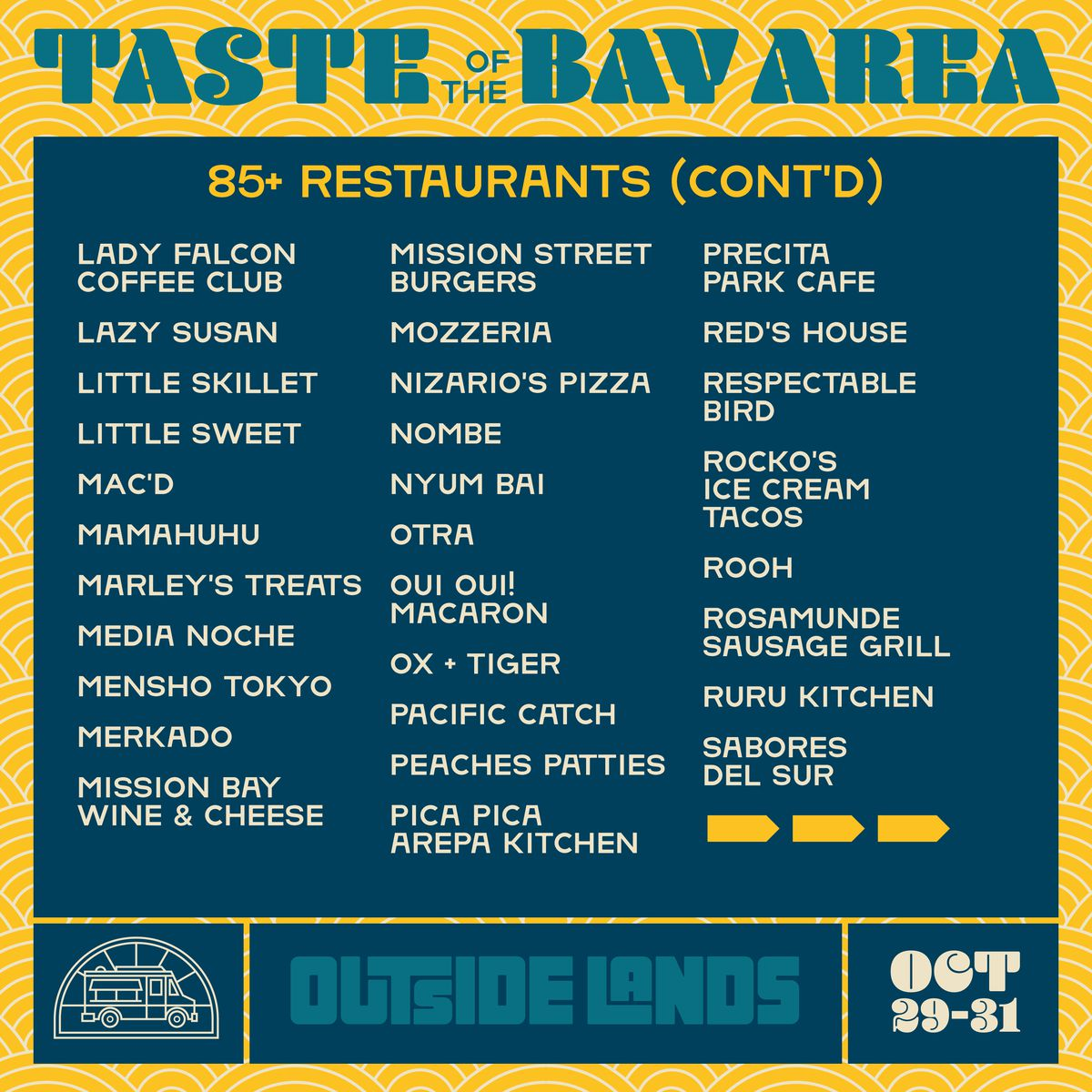 Page two of the 2021 Outside Lands food lineup