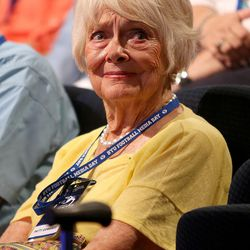 Patti Edwards watches the filming of the LaVell Edwards Coaching Tree, honoring her late husband, during BYU Football Media Day at BYU Broadcasting in Provo on Friday, June 23, 2017.