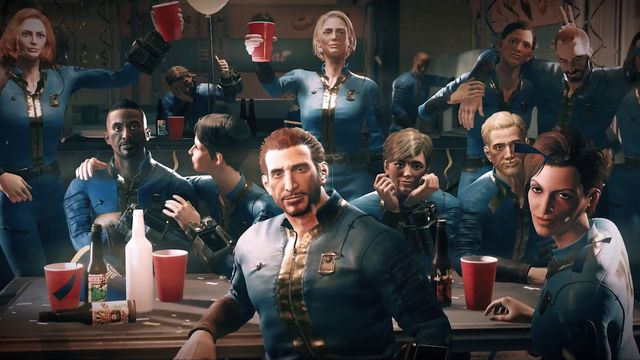 Fallout 76 - party in Vault 76