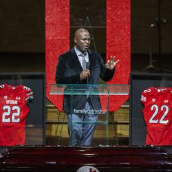 Utah special teams coach Sharrieff Shah memorializes Aaron Lowe during a funeral service at Family Cathedral of Praise on Monday, Oct. 11, 2021, in Mesquite, Texas. Lowe, a student and football player at the University of Utah, was was shot and killed on Sept. 26 at a postgame party.