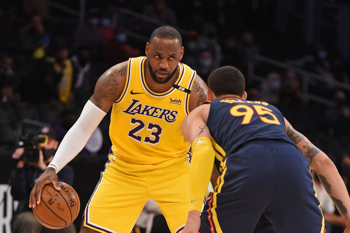 LeBron James #23 of the Los Angeles Lakers dribbles the ball during the game against the Golden State Warriors during the 2021 NBA Play-In Tournament on May 19, 2021 at STAPLES Center in Los Angeles, California.