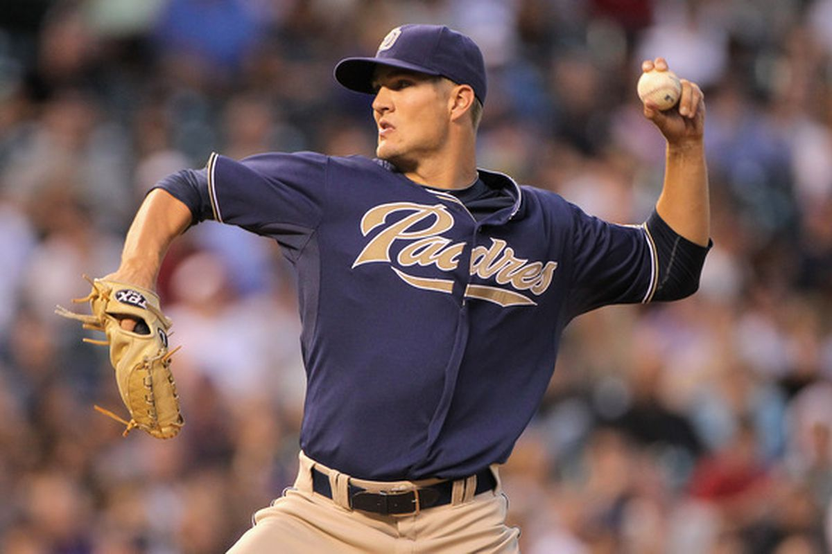 DENVER - SEPTEMBER 13:  Starting pitcher Cory Luebke #50 of the San Diego Padres delivers against the Colorado Rockies at Coors Field on September 13 2010 in Denver Colorado.  (Photo by Doug Pensinger/Getty Images)