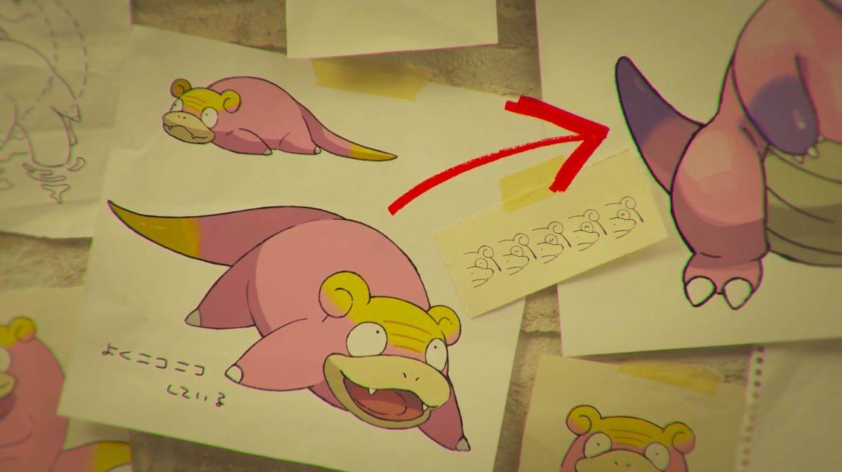 An illustration of Galarian Slowpoke and Galarian Slowbro