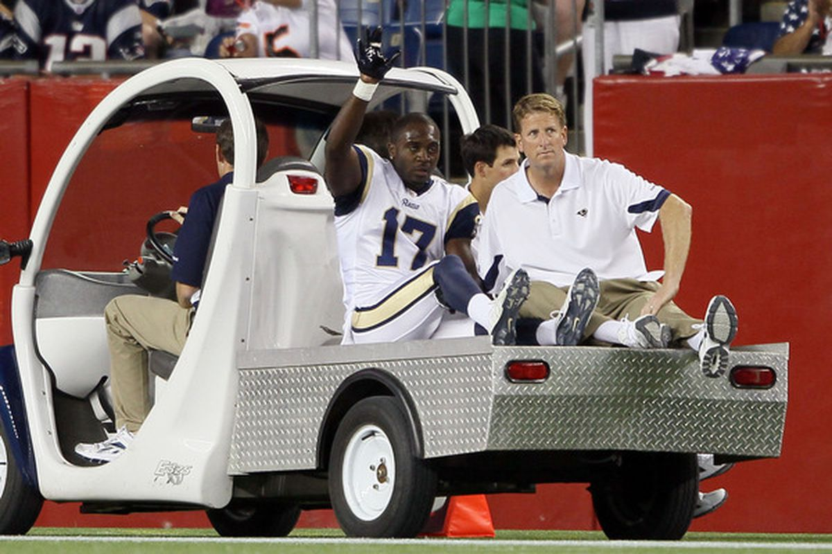 FOXBORO MA - AUGUST 26:  Donnie Avery #17 of the St. Louis Rams is carted off the field in the second quarter against the New England Patriots on August 26 2010 at Gillette Stadium in Foxboro Massachusetts.  (Photo by Elsa/Getty Images)