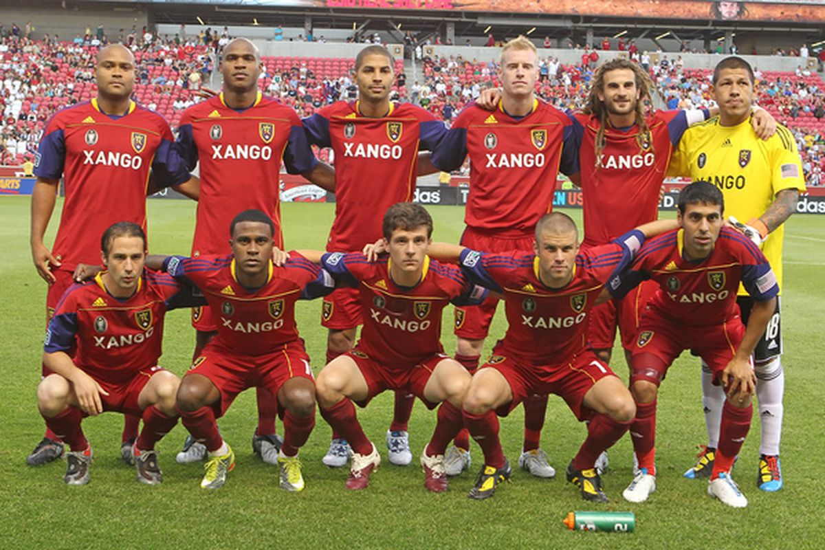SANDY UT - JULY 31: Players of Real Salt Lake pose for a picture before a game against DC United on July 31 2010 at Rio Tinto Stadium in Sandy Utah. Real Salt Lake beat DC United 3-0. (Photo by George Frey/Getty Images)