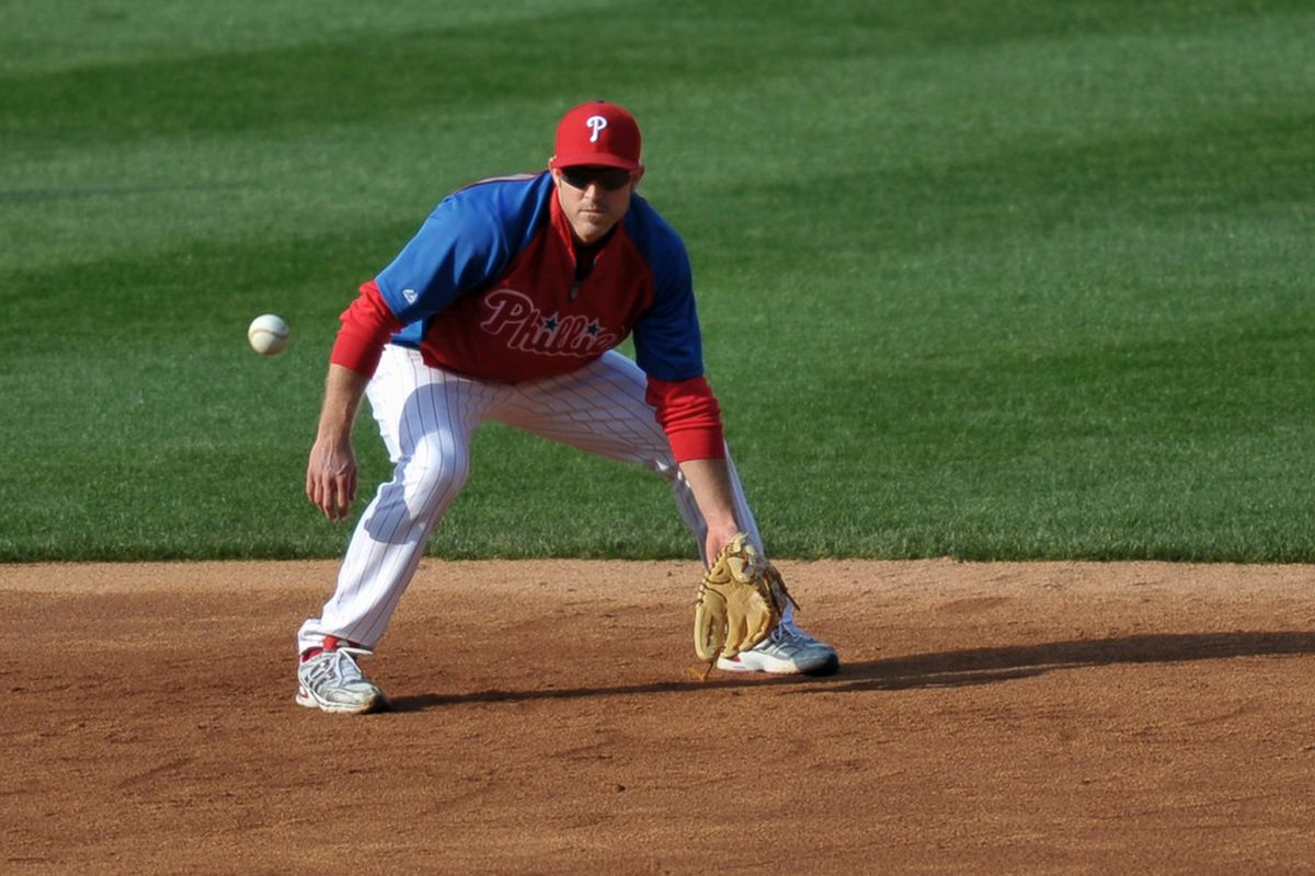 PHILADELPHIA, PA - APRIL 15: Chase Utley #26 of the Philadelphia Phillies warms up before the game against the Florida Marlins at Citizens Bank Park on April 15, 2011 in Philadelphia, Pennsylvania. (Photo by Drew Hallowell/Getty Images)