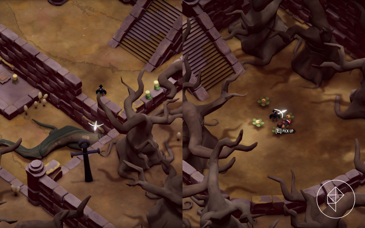 A split image showing a ledge to hookshot on to on the left with the Makeshift Soul Key on the right.