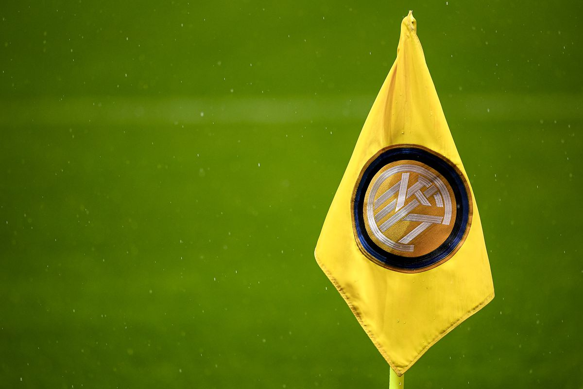 A corner flag with logo of FC Internazionale is seen during...