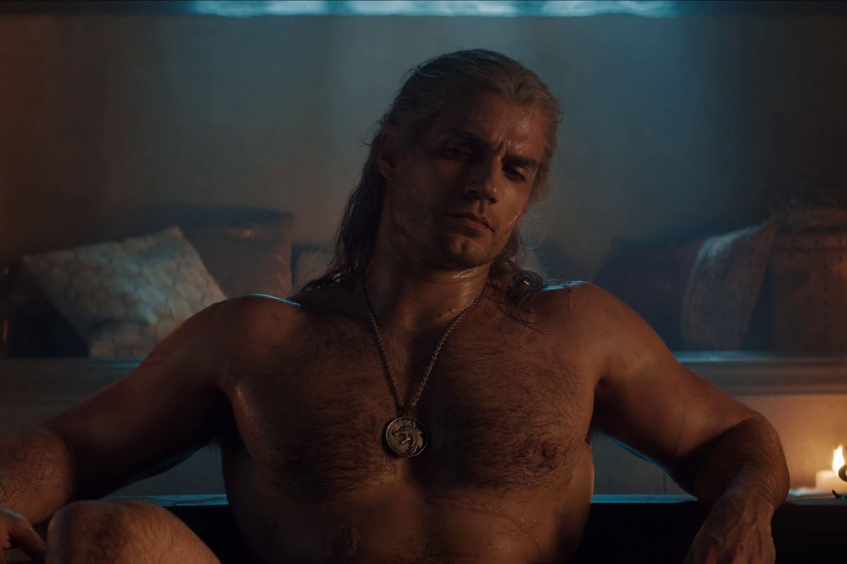 Henry Cavill as Geralt sitting in bathtub