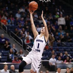 BYU's Brenna Chase goes in for a layup in the Cougars' double overtime win, 72-66, over Santa Clara on Thursday, Jan. 26, 2017, at the Marriott Center in Provo.
