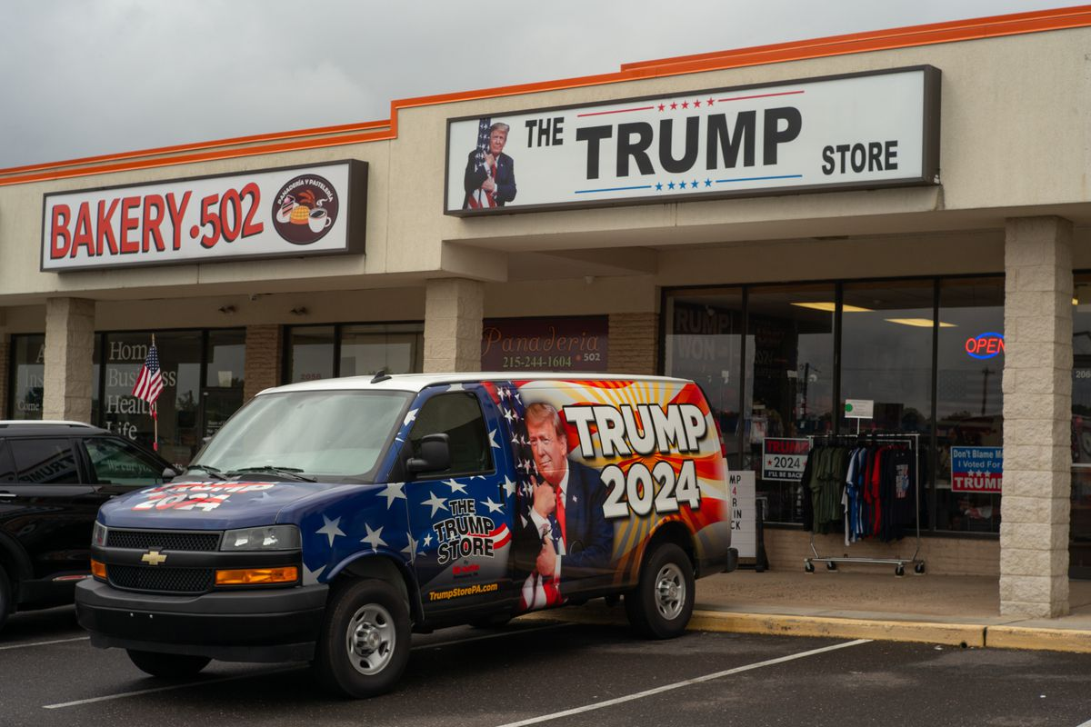 """Mike Domanico's van parked outside The Trump Store reads """"Trump 2024"""" in Bensalem, Pa."""