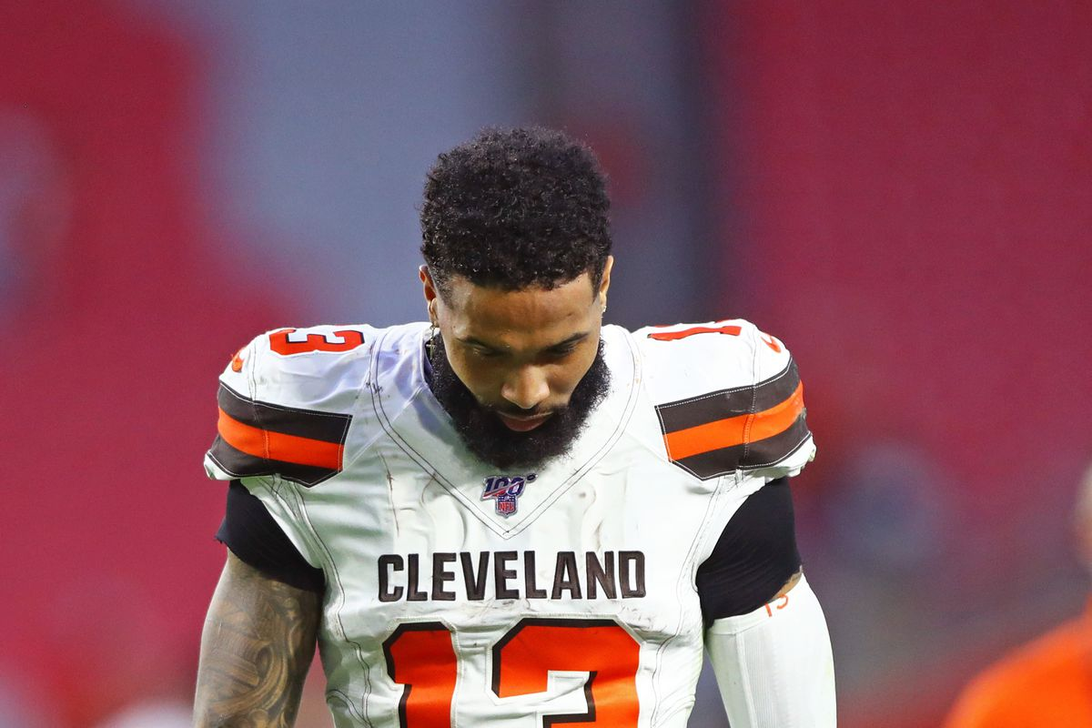 Cleveland Browns wide receiver Odell Beckham Jr. reacts as he leaves the field following the game against the Arizona Cardinals at State Farm Stadium.
