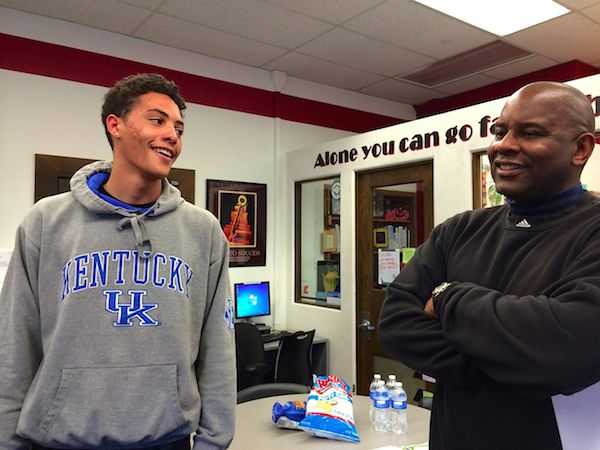 Project Greer Street founder Ron Sally (right) chats with program member Daylen Bowen, an East High junior