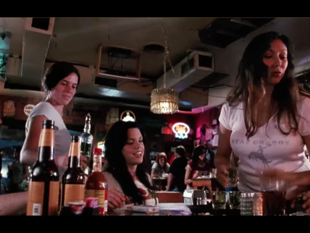 A scene from Death Proof at Texas Chili Parlor