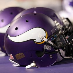 Aug 9, 2013; Minneapolis, MN, USA; A general view of Minnesota Vikings helmets during the second half against the Houston Texans at the Metrodome. The Texans won 27-13.