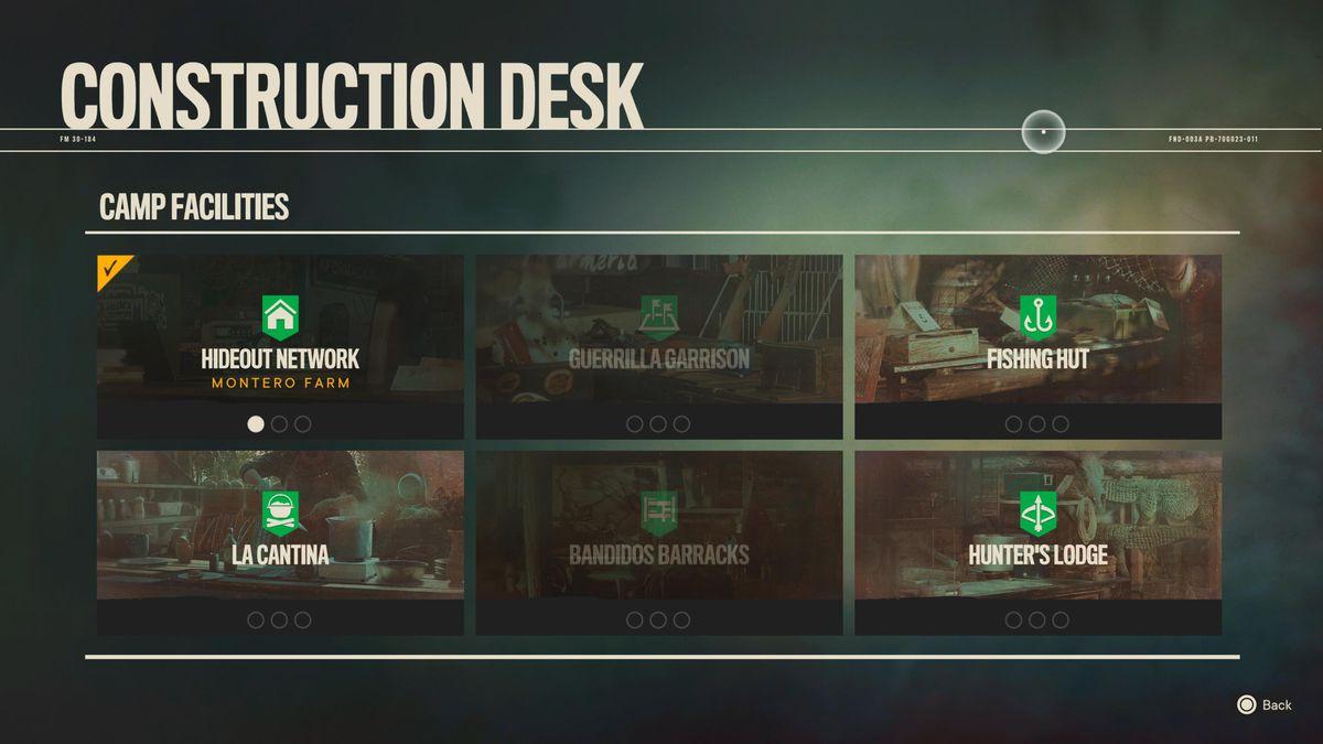 The construction desktop screen in Far Cry 6