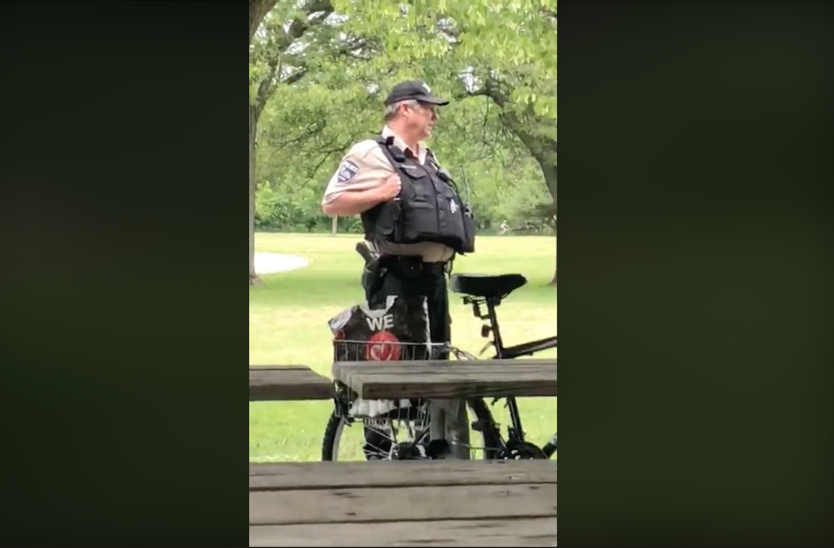 A Cook County Forest Preserves police officer was assigned to desk duty as the police department investigates his response to a woman's harassment complaint.