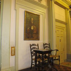 A painting of George Washington in full Masonic dress adorns the Colonial room. (Lee Benson/Deseret News)