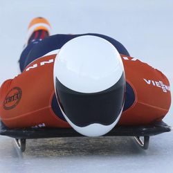 The United States' Matthew Antoine competes at the skeleton World Cup eventFriday, Dec. 6, 2013, in Park City. Antoine came in third place.
