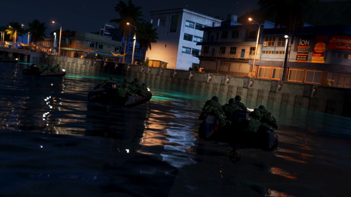 Arma 3: Apex - squads sailing along a river in a city at night