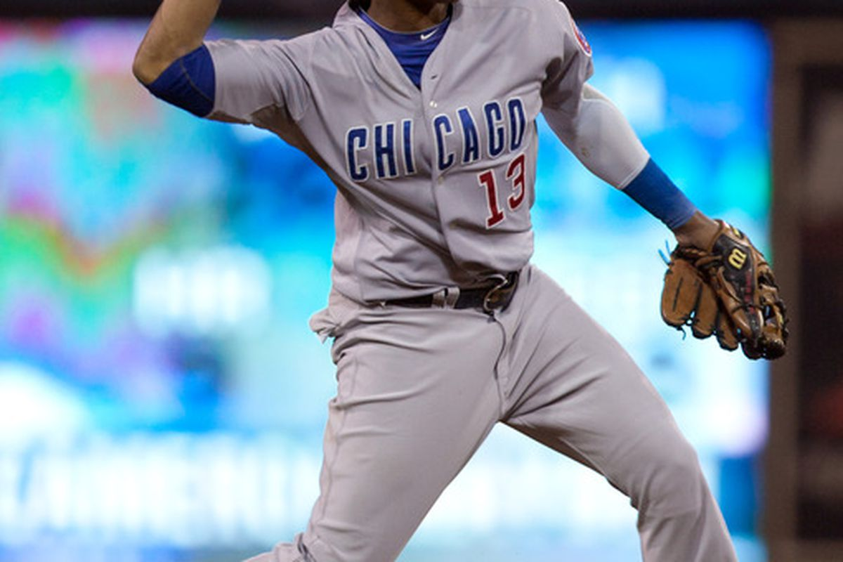 Starlin Castro of the Chicago Cubs throws the ball to first base for the out during a game against the San Diego Padres at Petco Park in San Diego, California. (Photo by Kent C. Horner/Getty Images)