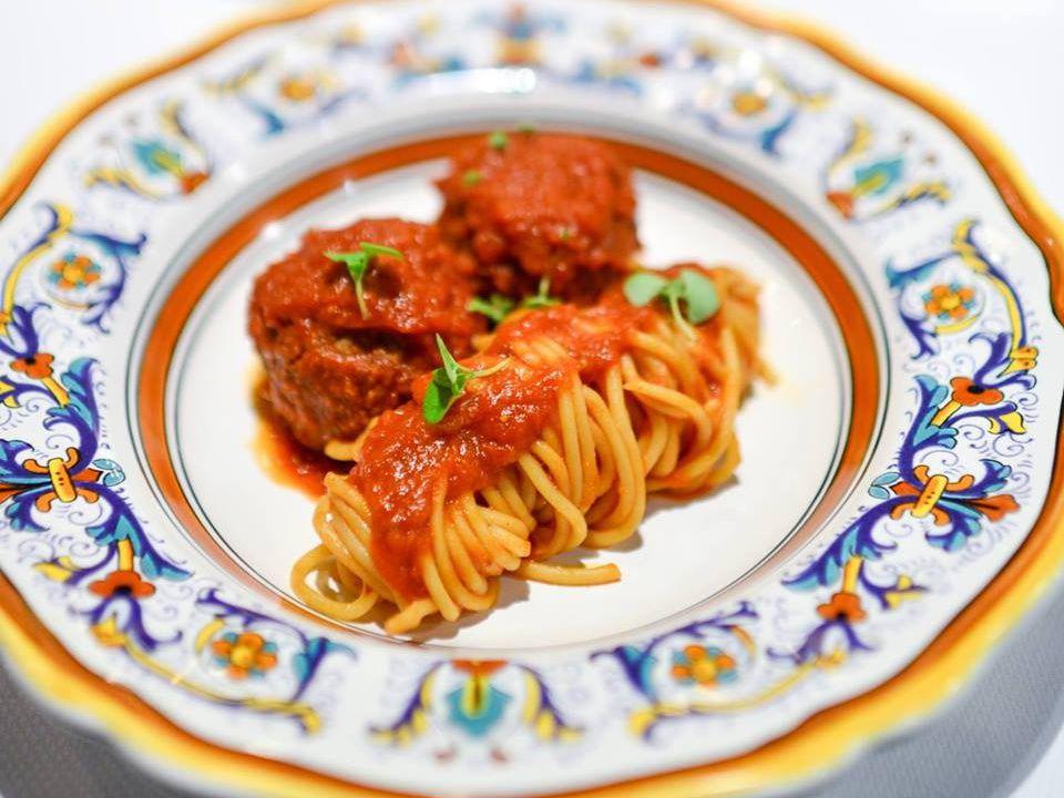 Spaghetti and meatballs at Aggio [Photo: Official]