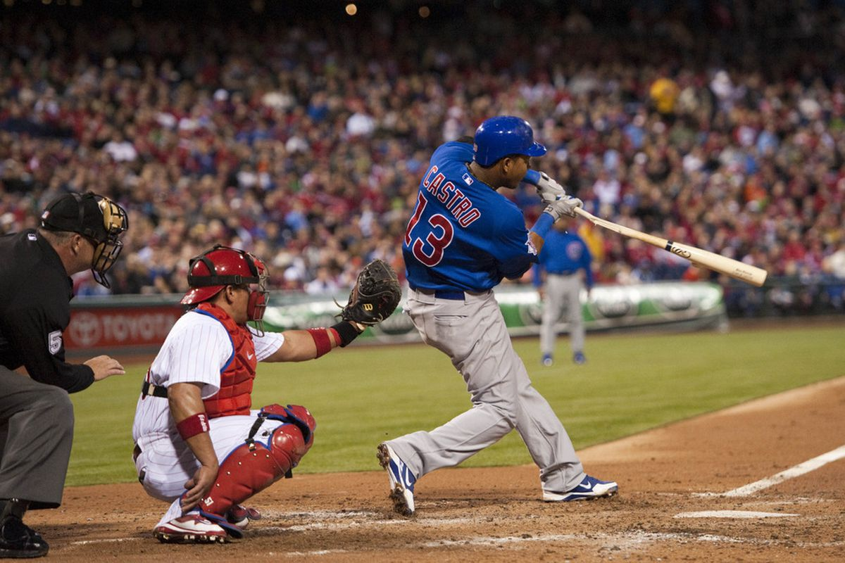 Philadelphia, PA, USA; Chicago Cubs shortstop Starlin Castro hits a broken bat single during the fourth inning against the Philadelphia Phillies at Citizens Bank Park. The Phillies defeated the Cubs 6-4. Mandatory Credit: Howard Smith-US PRESSWIRE