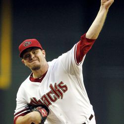 Arizona Diamondbacks' Wade Miley throws to the Philadelphia Phillies during the first inning of a baseball game Monday, April 23, 2012, in Phoenix.