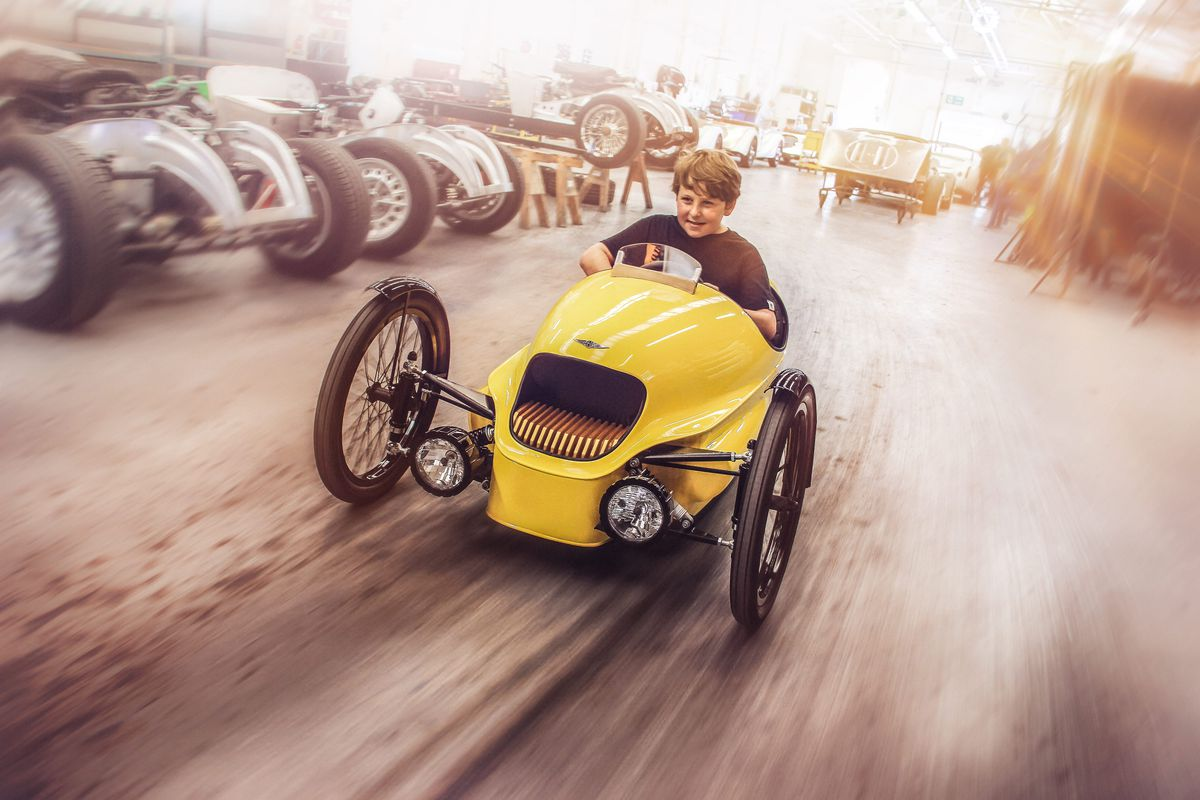 british car company morgan is famous for making stylish retro three wheelers like the all electric ev3 which the company debuted at the geneva motor show