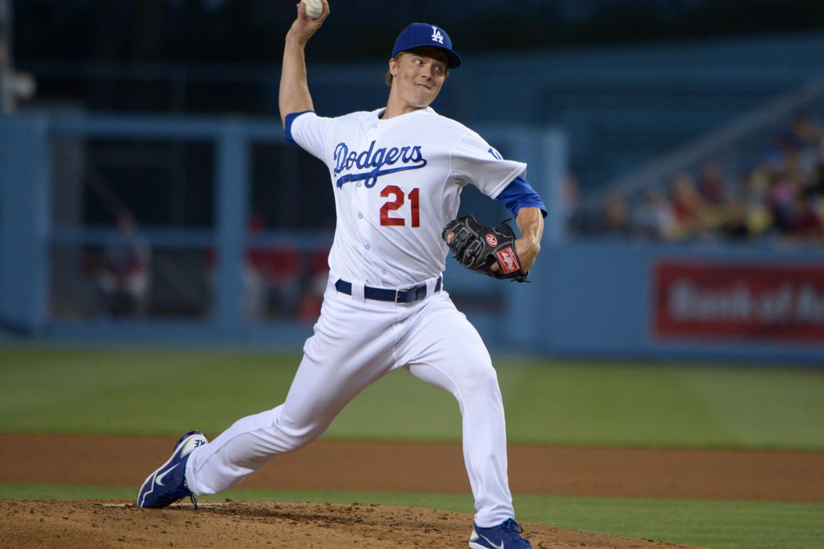 May 15, 2013; Los Angeles, CA, USA; Los Angeles Dodgers starter Zack Greinke (21) delivers a pitch against the Washington Nationals at Dodger Stadium.