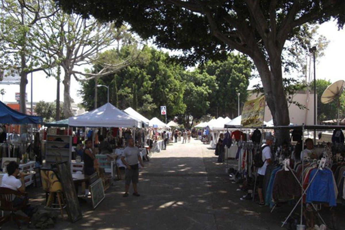 """The flea at Hollywood High. Photo via <a href=""""http://www.facebook.com/OpenMarketPlaceLA#!/photo.php?fbid=206605096059295&amp;set=a.206604842725987.56852.180029552050183&amp;type=3&amp;theater"""">Facebook</a>."""