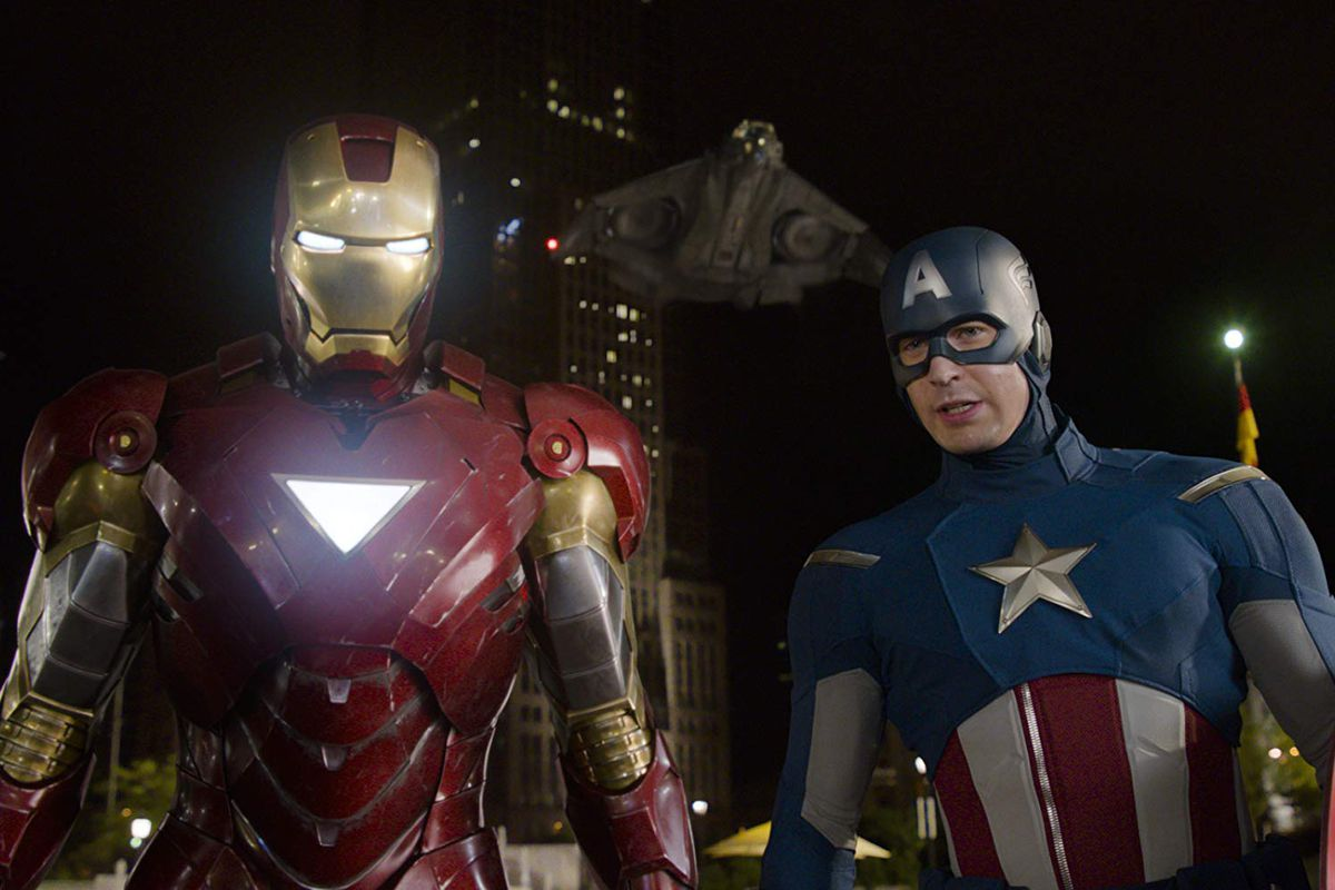 """Iron Man and Captain America in the movie """"The Avengers."""""""
