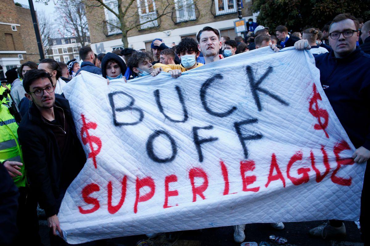 European Super League protest in London